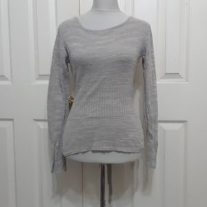 Moth S taupe textured pullover belted sweater